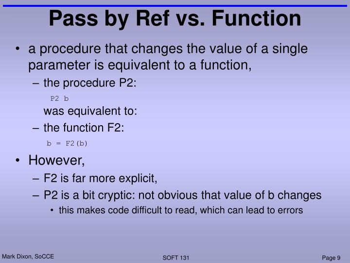 Pass by Ref vs. Function