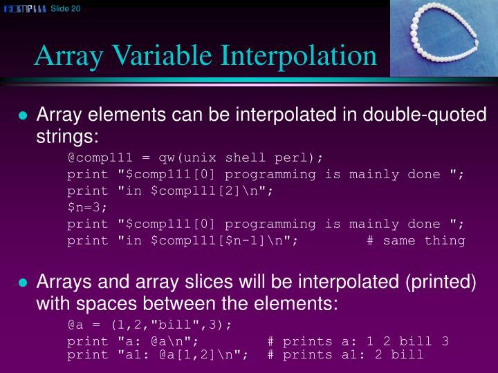 Array Variable Interpolation