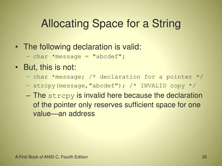 Allocating Space for a String