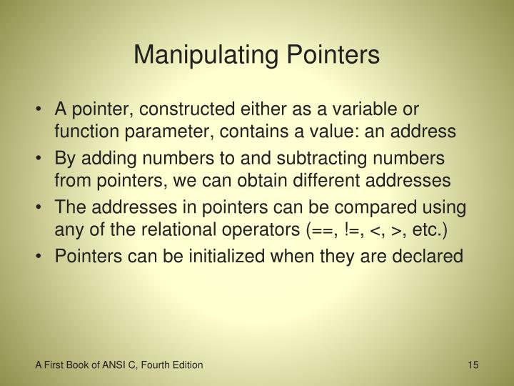 Manipulating Pointers