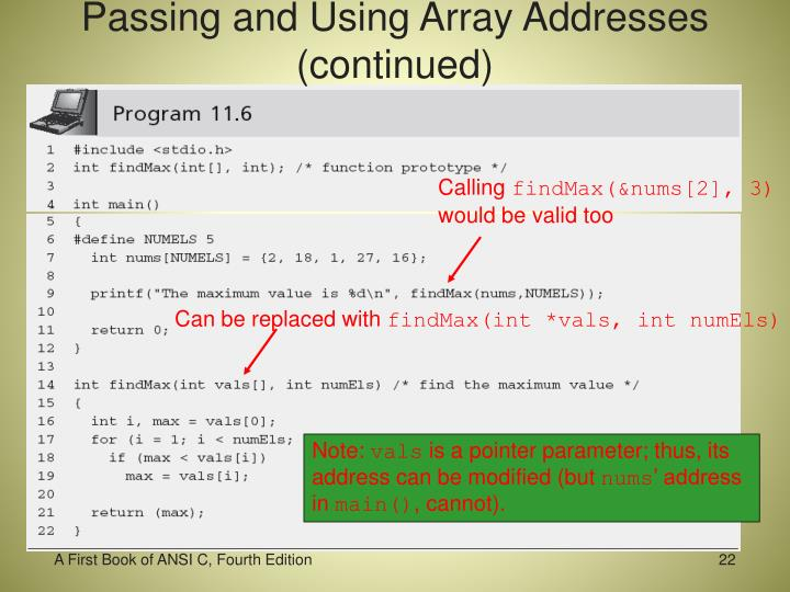 Passing and Using Array Addresses (continued)