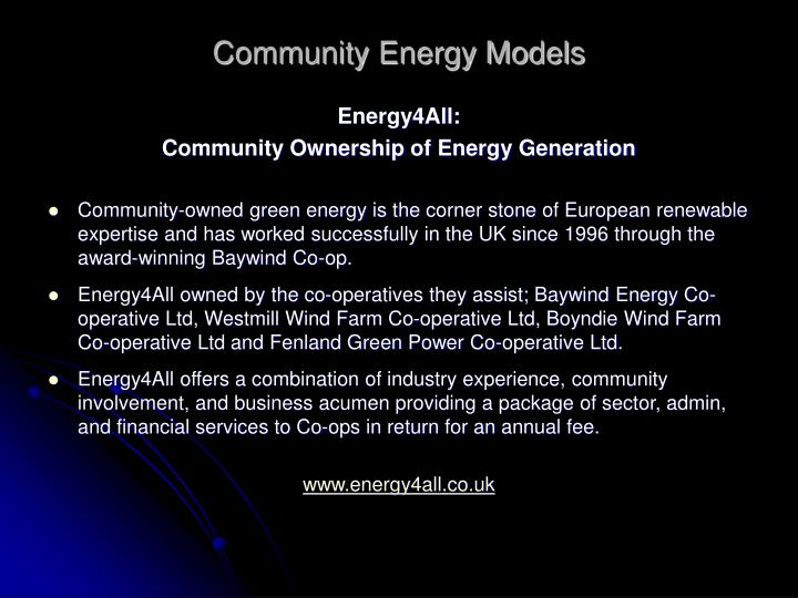 Community Energy Models