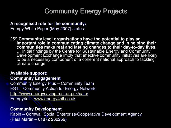 Community Energy Projects