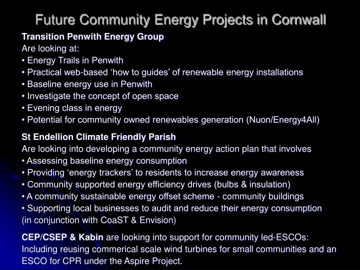 Future Community Energy Projects in Cornwall