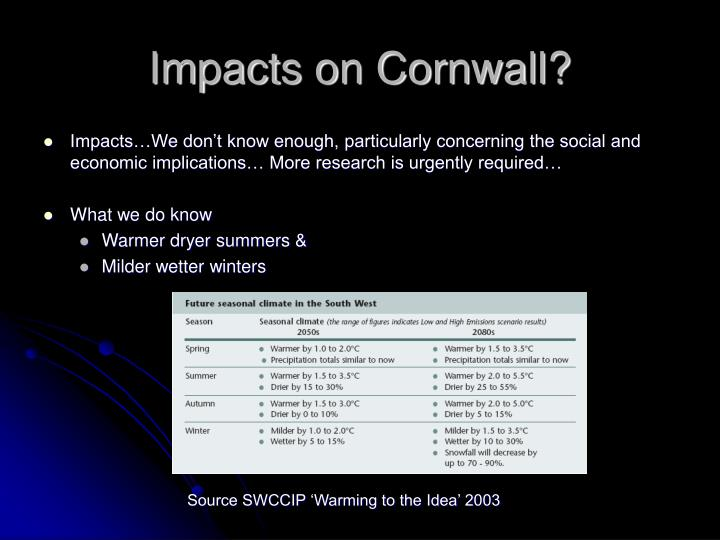 Impacts on Cornwall?