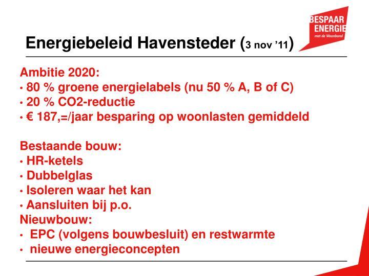 Energiebeleid Havensteder (