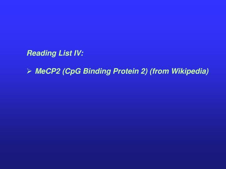 Reading List IV: