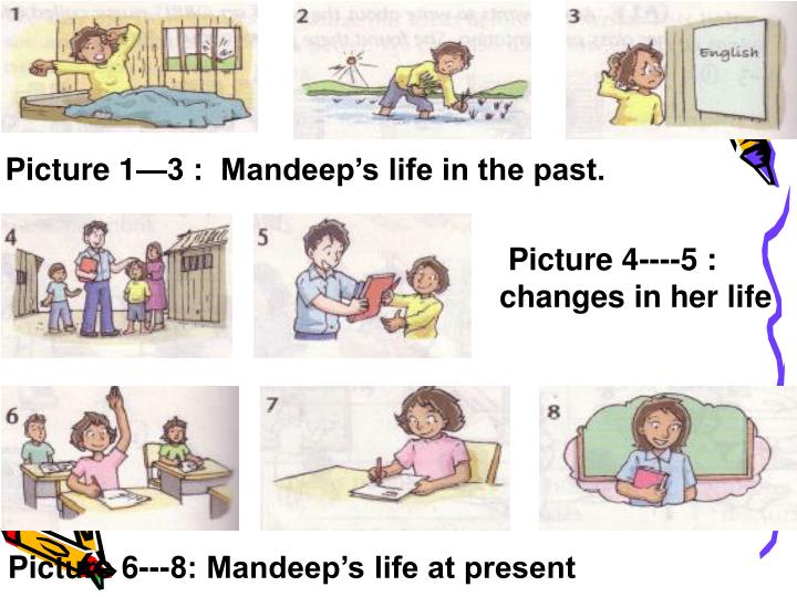 Picture 1—3 :  Mandeep's life in the past.