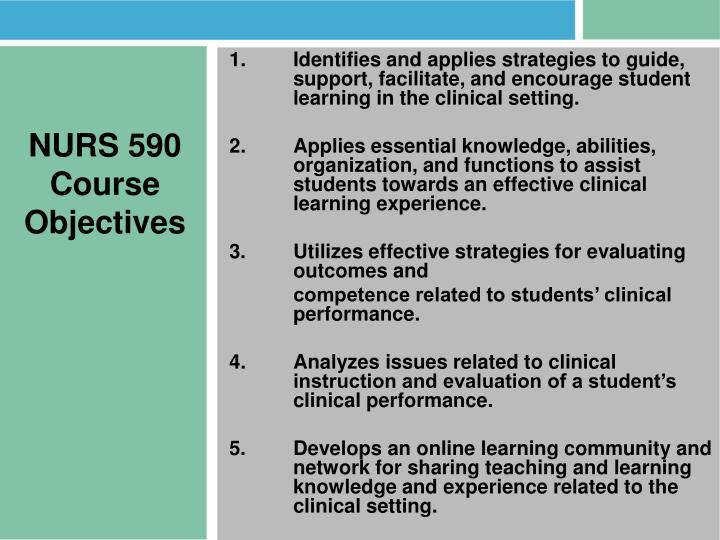 NURS 590 Course Objectives