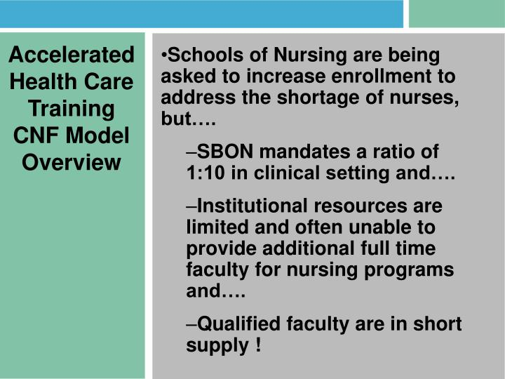 Accelerated Health Care Training CNF Model Overview