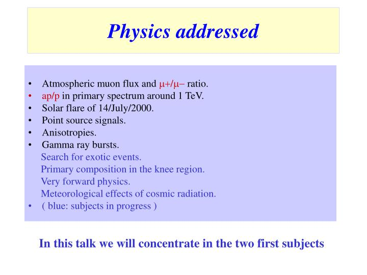 Physics addressed