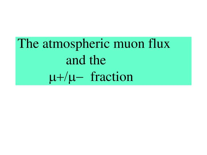 The atmospheric muon flux