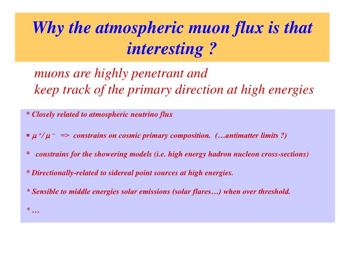 Why the atmospheric muon flux is that interesting ?
