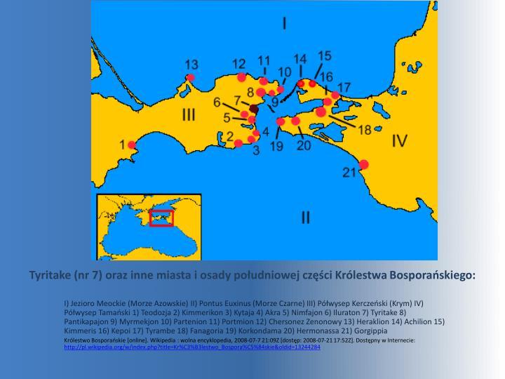 Tyritake (nr 7) oraz inne miasta i osady południowej części Królestwa