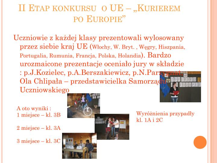 """II Etap konkursu  o UE – """"Kurierem po Europie"""""""