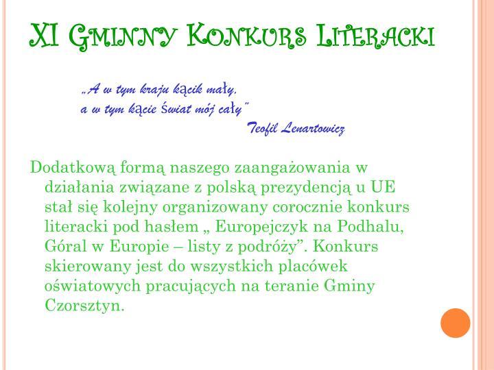 XI Gminny Konkurs Literacki