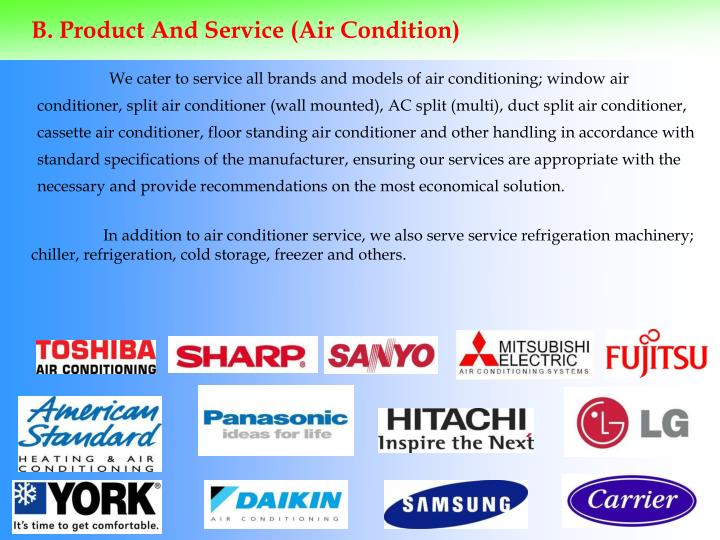 B. Product And Service (Air Condition)