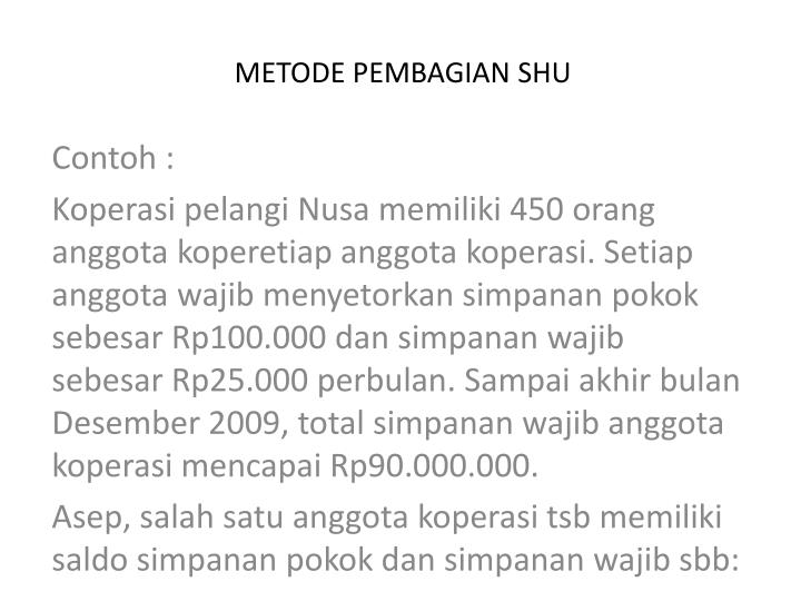 METODE PEMBAGIAN SHU