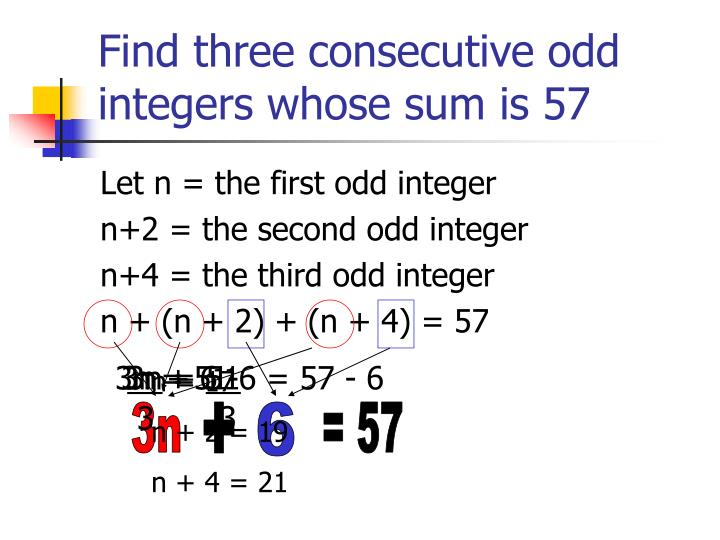 Find three consecutive odd integers whose sum is 57