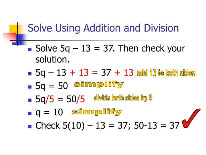 Solve Using Addition and Division
