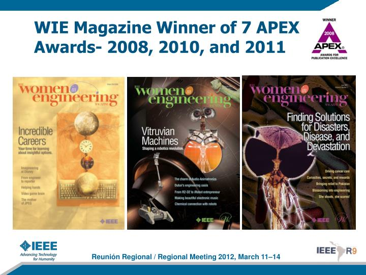 WIE Magazine Winner of 7 APEX Awards- 2008, 2010, and 2011