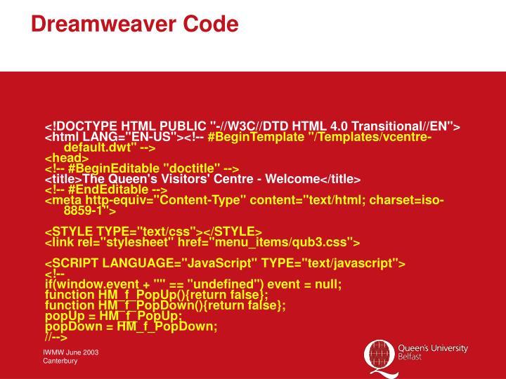 Dreamweaver Code