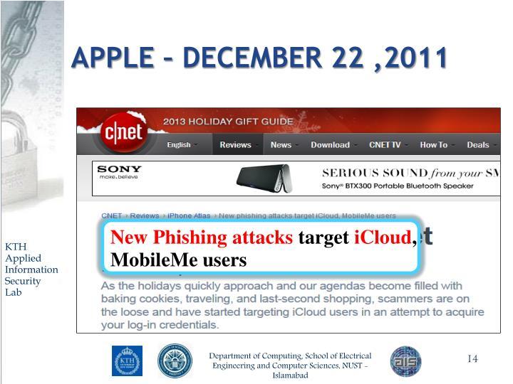 APPLE – December 22 ,2011