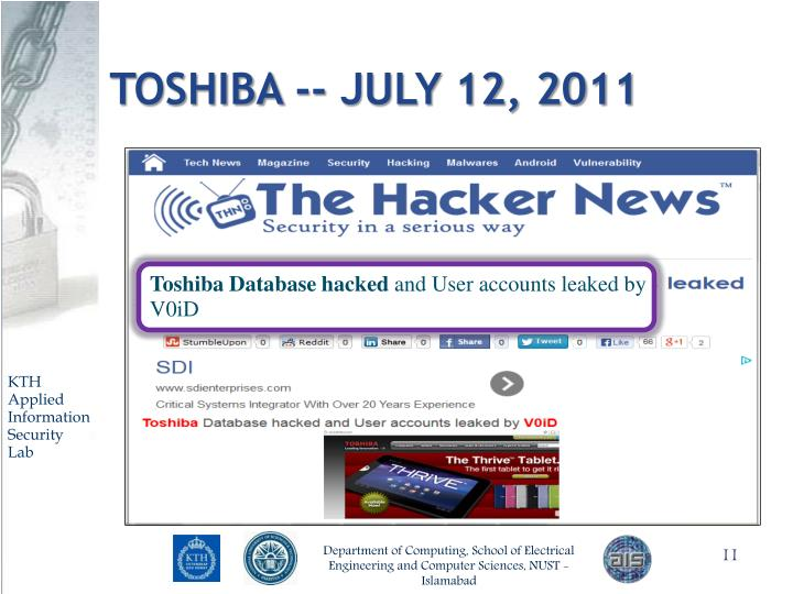 Toshiba -- July 12, 2011