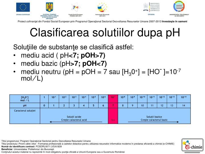 Clasificarea solutiilor dupa pH