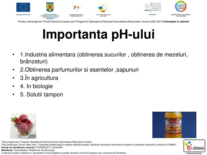 Importanta pH-ului