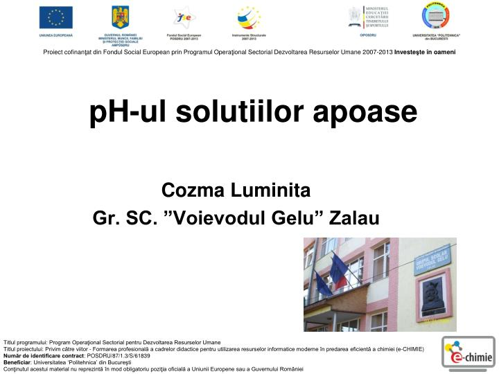 pH-ul solutiilor apoase