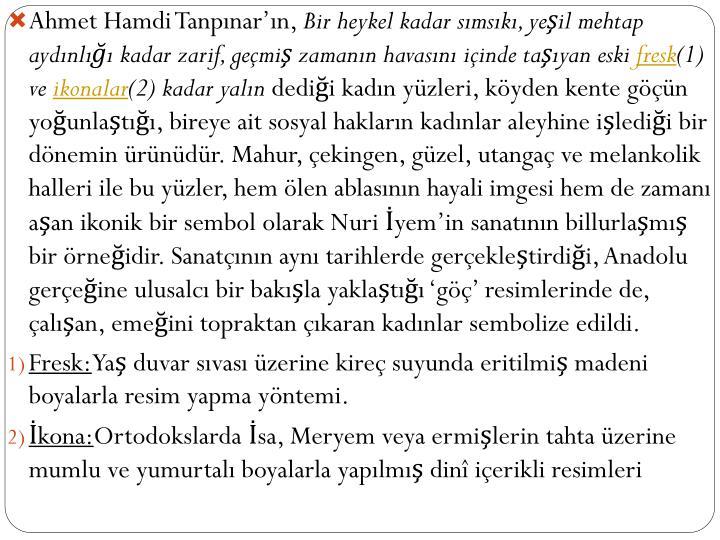 Ahmet Hamdi Tanpınar'ın,