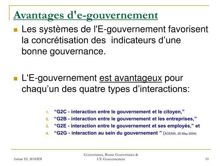 Avantages d'e-gouvernement