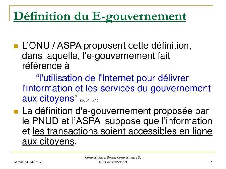 Définition du E-gouvernement