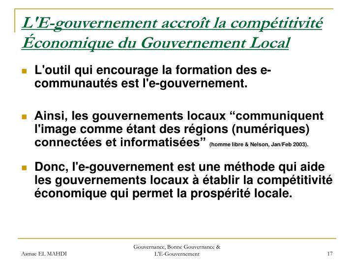 L'E-gouvernement accroît la compétitivité Économique du Gouvernement Local