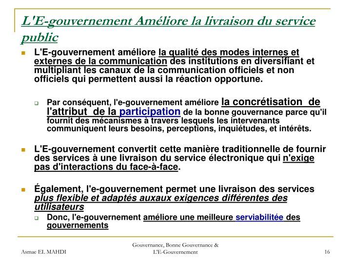 L'E-gouvernement Améliore la livraison du service public