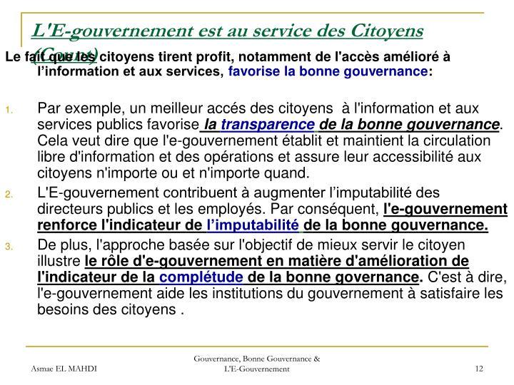 L'E-gouvernement est au service des Citoyens (Count)