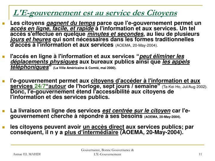 L'E-gouvernement est au service des Citoyens