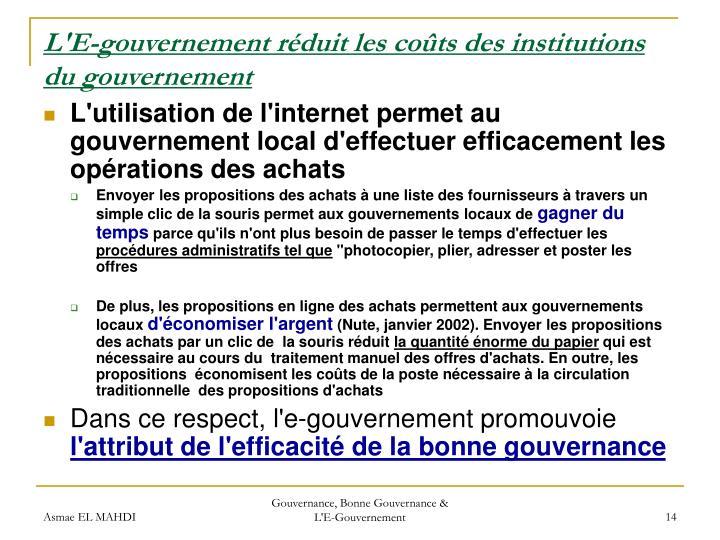 L'E-gouvernement réduit les coûts des institutions du gouvernement