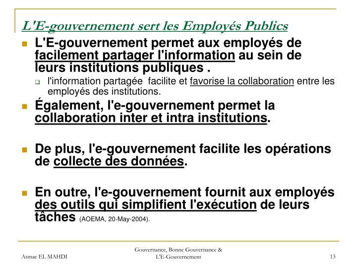 L'E-gouvernement sert les Employés Publics