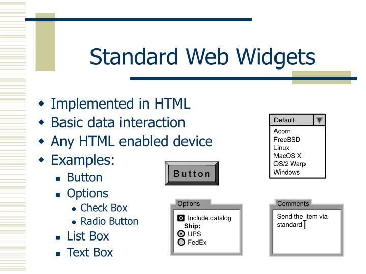 Standard Web Widgets