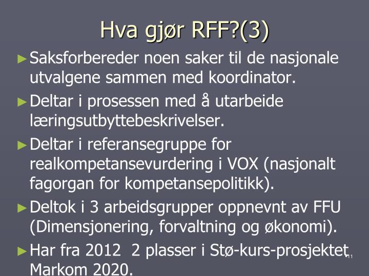 Hva gjør RFF?(3)