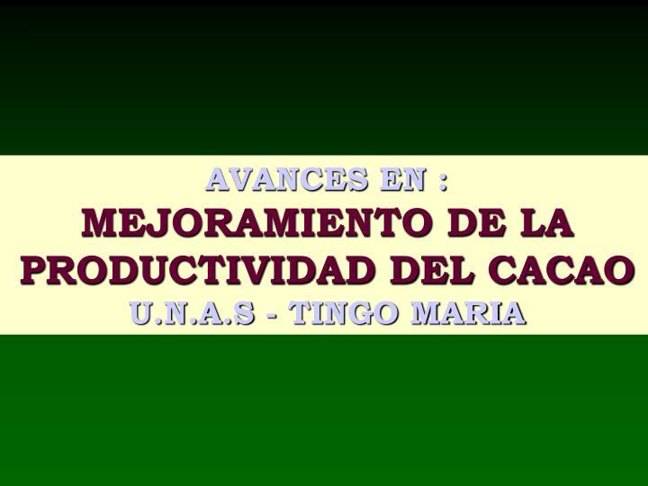 AVANCES EN :