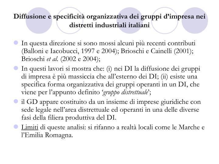 Diffusione e specificità organizzativa dei gruppi d'impresa nei distretti industriali italiani