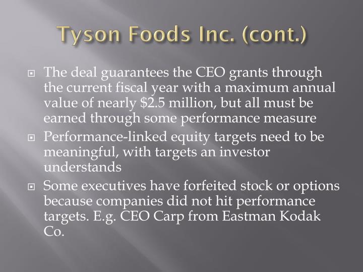 Tyson Foods Inc. (cont.)