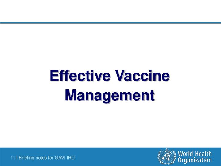Effective Vaccine Management