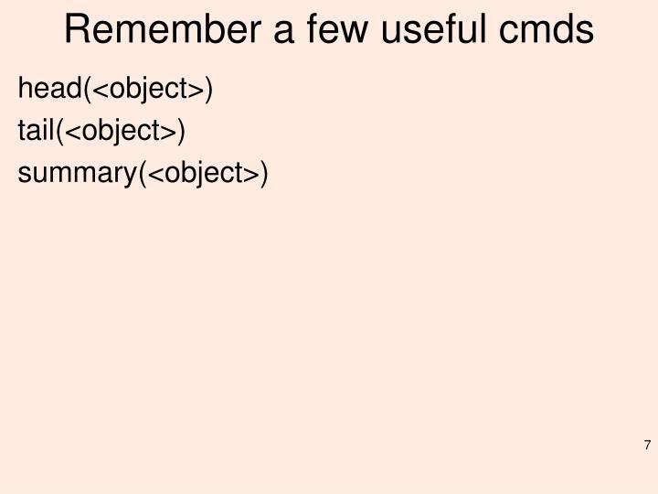 Remember a few useful
