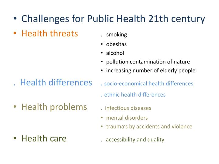 Challenges for Public Health 21th century