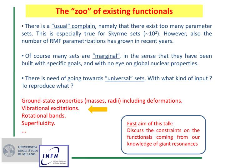 "The ""zoo"" of existing functionals"