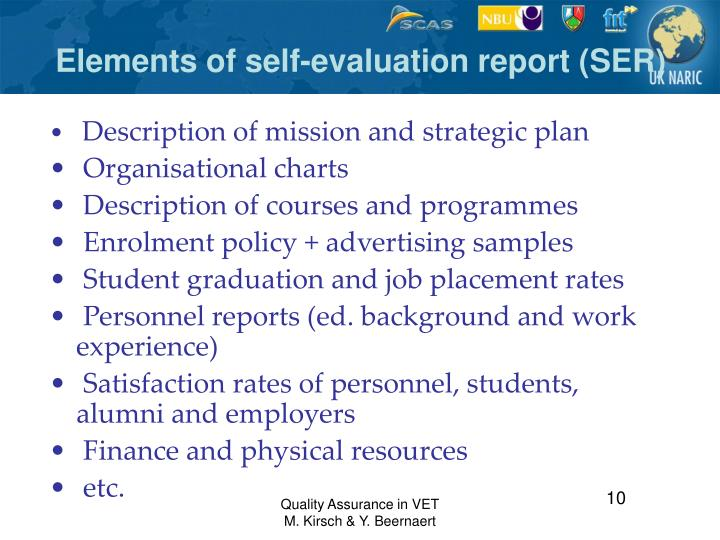 Elements of self-evaluation report (SER)